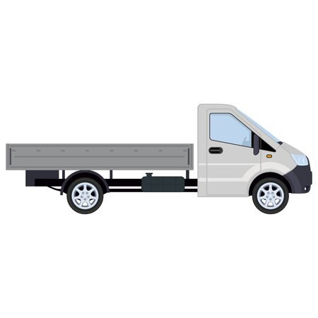 Truck, side view. Concept for delivery service, cargo transportation. Vector illustration. Stock Illustratie