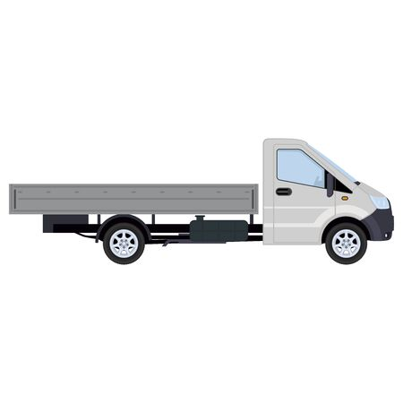 Truck, side view. Concept for delivery service, cargo transportation. Vector illustration. Stockfoto - 147499043