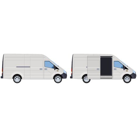 White van with closed and open side door. Concept for delivery service, cargo transportation, ambulance.  illustration. Illustration