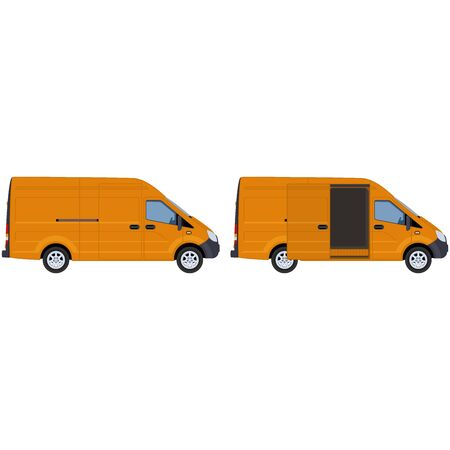 A yellow van with closed and open side door. Concept for delivery service, cargo transportation, ambulance. illustration.