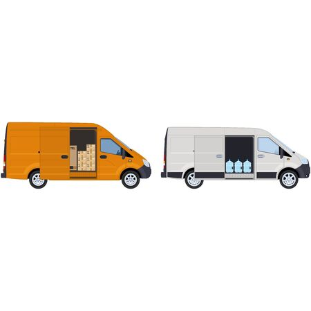 White and yellow van with an open side door, side view. Concept for cargo transportation and for water delivery service. illustration.