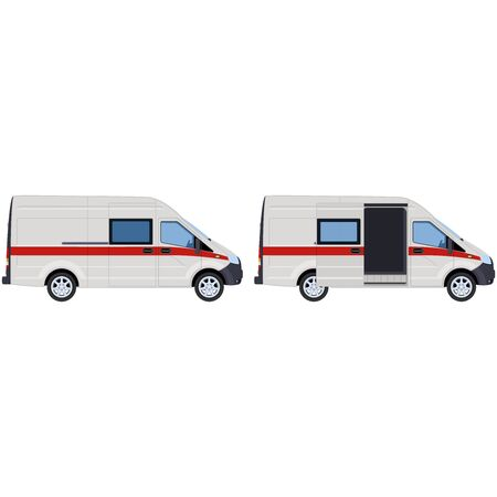 White van with a red stripe, set. Concept for 911 service, ambulance, emergency service.  illustration.