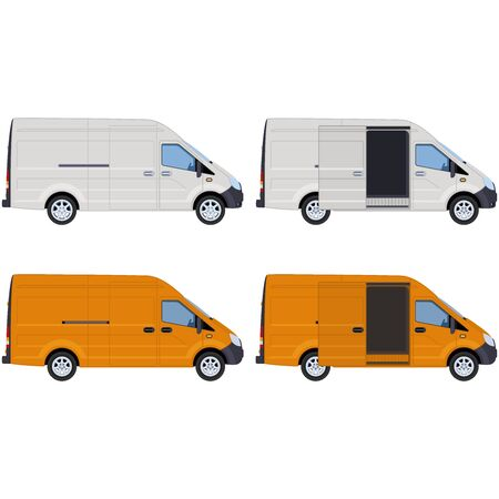 White and yellow vans, side view. Concept for delivery service, cargo transportation, ambulance. illustration.