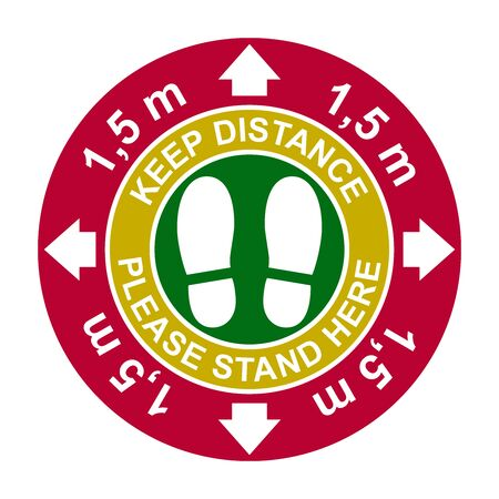 Social distancing, infographic elements. Keep distance 1,5 meter. Vector illustration. Stock Illustratie