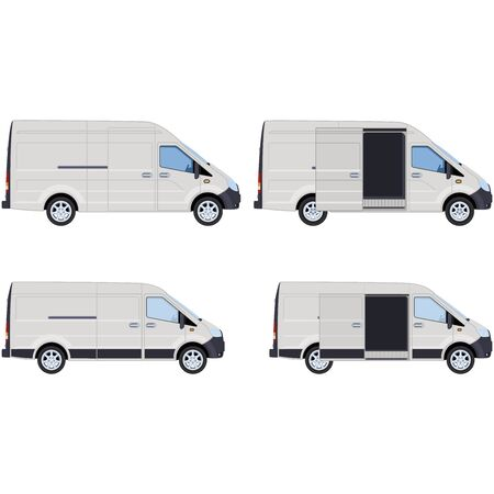 White van with closed and open side door. Concept for delivery service, cargo transportation, ambulance. Vector illustration.
