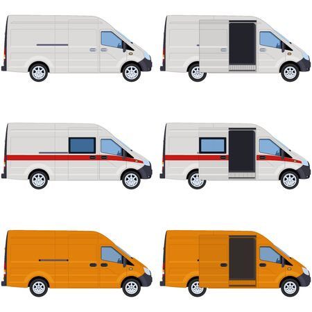 White and yellow vans, side view. Concept for delivery service, cargo transportation, ambulance. Vector illustration.