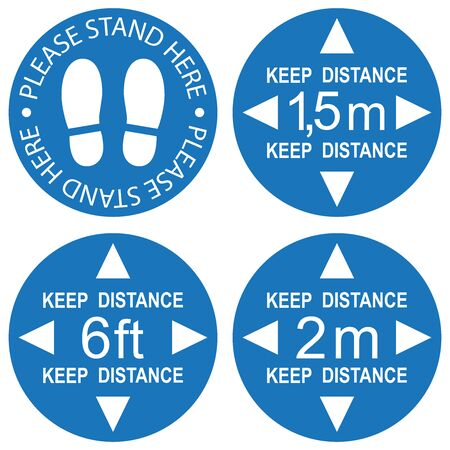 Social distancing, infographic elements. Signs PLEASE STAND HERE, KEEP DISTANCE 6ft, 1,5m, 2m. Vector illustration. Stock Illustratie