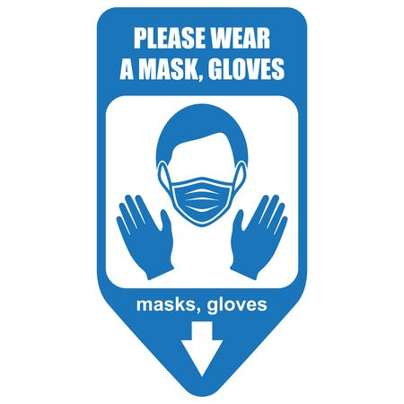 Healthcare infographic elements. Sign PLEASE WEAR A MASK, GLOVES. Vector illustration. Stock Illustratie