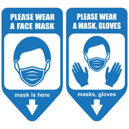 Healthcare infographic elements. Signs PLEASE WEAR A FACE MASK, PLEASE WEAR A MASK, GLOVES. Vector illustration.