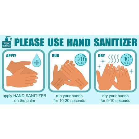 Healthcare infographic elements. PLEASE USE HAND SANITIZER. Vector illustration.