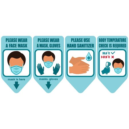 Healthcare infographic elements. Signs PLEASE WEAR A FACE MASK, PLEASE WEAR A FACE MASK, GLOVES, PLEASE USE HAND SANITIZER, BODY TEMPERATURE CHECK IS REQUIRED. Vector illustration. Stock Illustratie