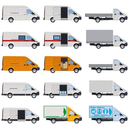 Vans and trucks, side view. Concept for delivery service, cargo transportation, police, ambulance. Vector illustration.