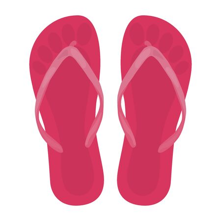 Beach slippers, top view. Vector illustration on a white background.