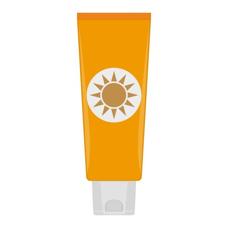 Tube of sunblock. Vector illustration on white background.
