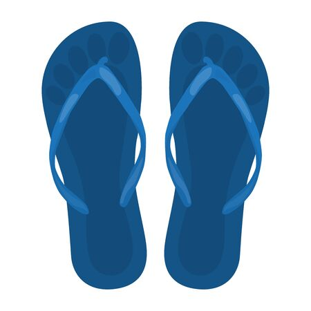 Blue beach slippers, top view. Vector illustration on a white background. Stock Illustratie
