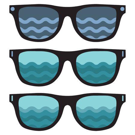 Dark Sunglasses, set. Vector illustration on white background.