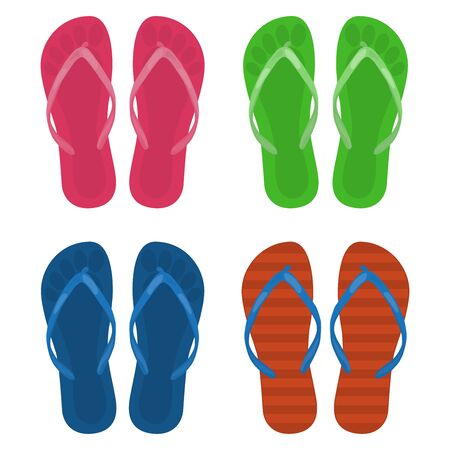 Beach slippers, set. Vector illustration on a white background.