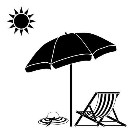 Beach umbrella, deck chair, summer hat. illustration on a white background.