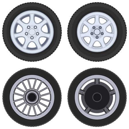 Vehicle wheel, icon set. Vector illustration on a white background.