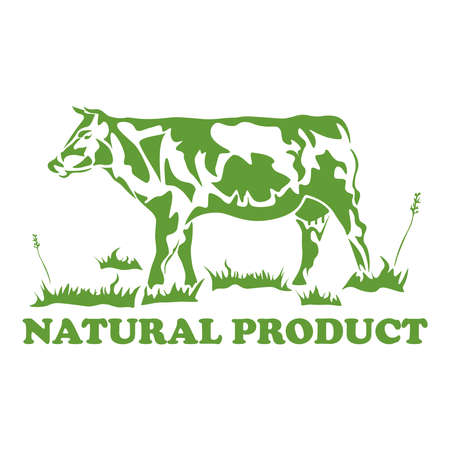 Silhouette of a cow, grass, the inscription NATURAL PRODUCT. Logo for a natural product, for the dairy and meat business, for a store, for a bazaar. Vector illustration.