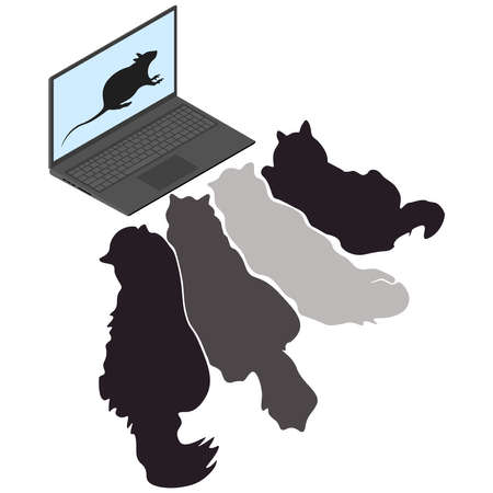 Cats look at a laptop with a picture of a rat on the display. Vector illustration isolated on white background.