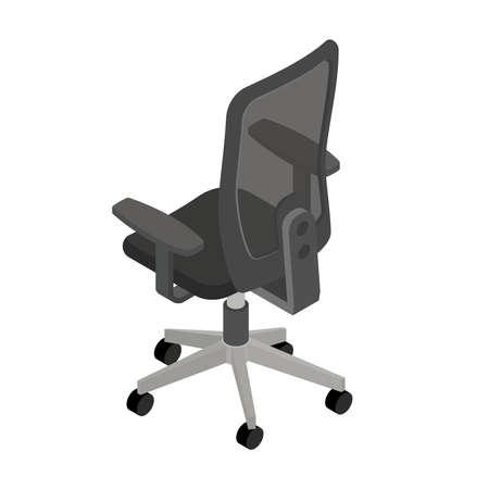 Office chair, isometric design. 3D render. Vector illustration.