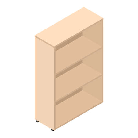 Bookcase, isometric design. 3D render. Vector illustration. Stock Illustratie