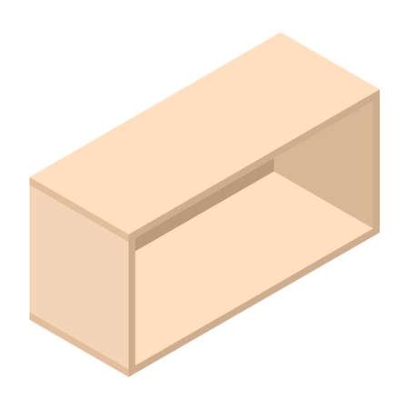 Bookshelf, isometric design. 3D render. Vector illustration. Stock Illustratie