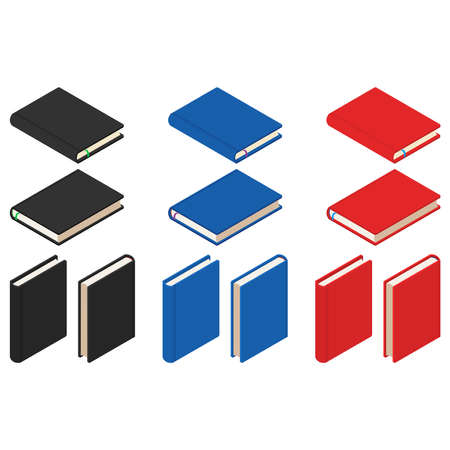 Isometric notebooks or diaries, set of different colors. 3d rendering. Vector illustration isolated on white background. 向量圖像