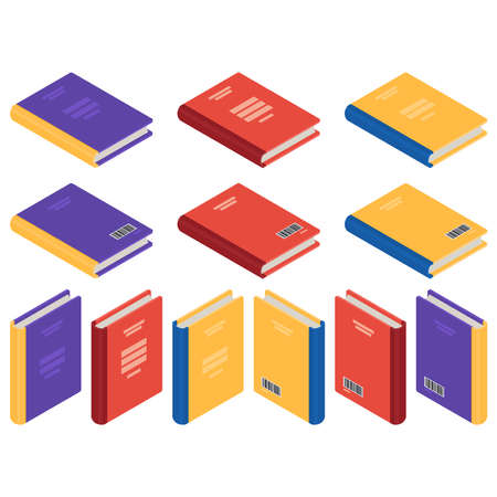 Isometric textbooks or books. 3d rendering. Vector illustration isolated on white background.