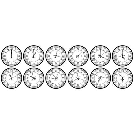 Clock with roman numerals. A collection of dials showing twelve hours and about one hour, two, three, four, five, six, seven, eight, nine, ten, eleven hours. Vector illustration. Illustration