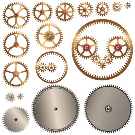 A collection of gears for clock or other mechanisms. Vector illustration isolated on white background.