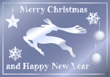 Abstract silver Christmas deer, balls, star, snowflakes, inscriptions Merry Christmas and Happy New Year. Collection for the design of a greeting card, banner, poster. Vector illustration. 矢量图像