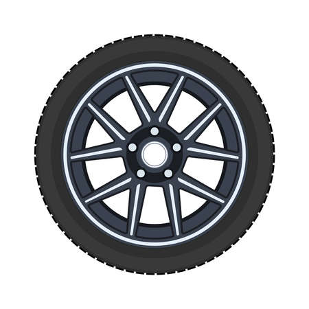 Car wheel. Realistic design. Vector illustration on a white background.
