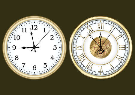 Gold clocks with arabic and roman numerals, set. Vector illustration.