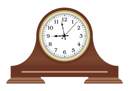Brown wooden table clock with arabic numerals. Vector illustration.