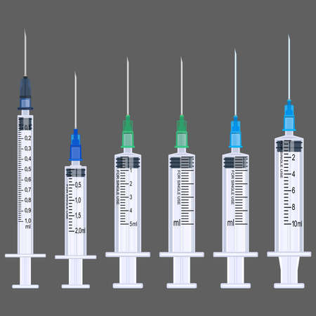 Disposable syringes 1-10 ml, set. Realistic image. Vector illustration. 矢量图像