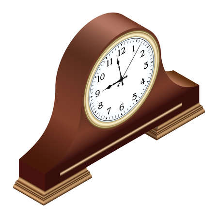 Isometric brown wooden table clock with arabic numerals. 3D render. Vector illustration.