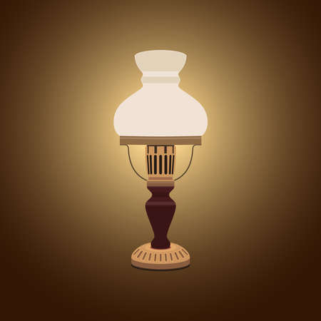 Retro table lamp. Realistic image. Vector illustration on a dark background.