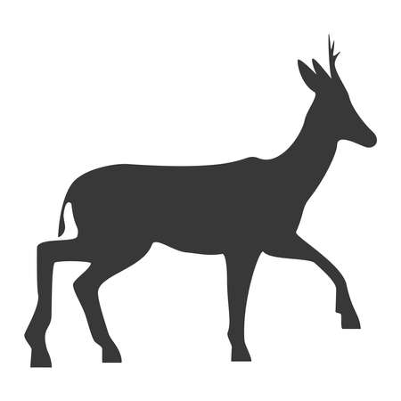Roe deer silhouette, icon. Vector illustration on a white background. Vector Illustratie