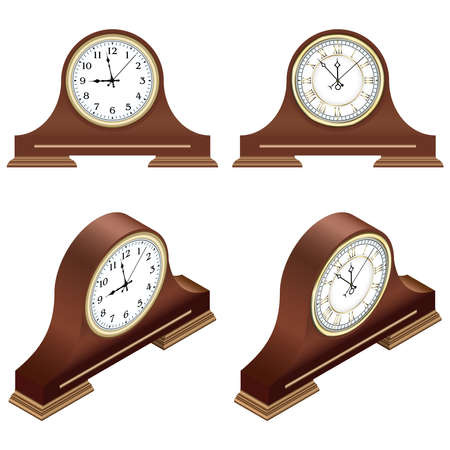 Isometric brown wooden table clocks with arabic and roman numerals. 3D render. Vector illustration. 矢量图像