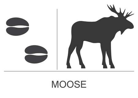 Moose silhouette and footprints. Vector illustration on a white background. 矢量图像