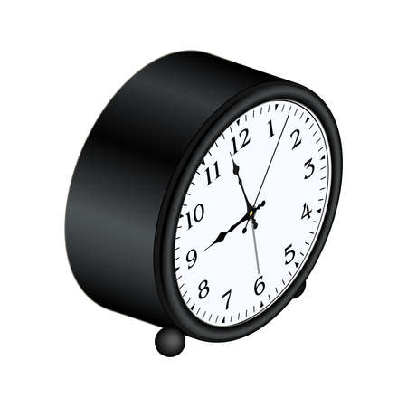 Isometric table alarm clock with arabic numerals. 3D render. Vector illustration.