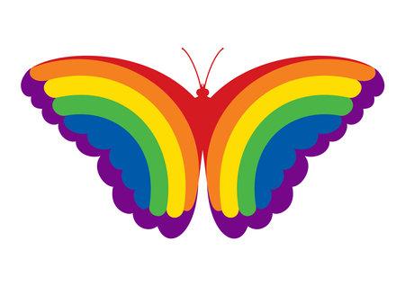 Rainbow butterfly. LGBT community symbol. Vector illustration.
