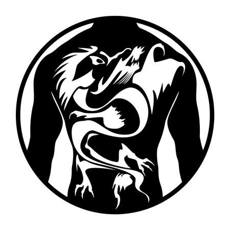 Male silhouette with dragon or fantasy animal tattoo. Logo for the tattoo studio. Vector illustration.