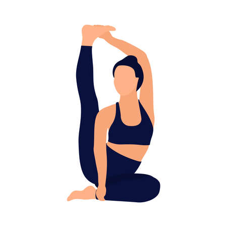 Faceless image of a girl doing yoga or fitness. Vector illustration.