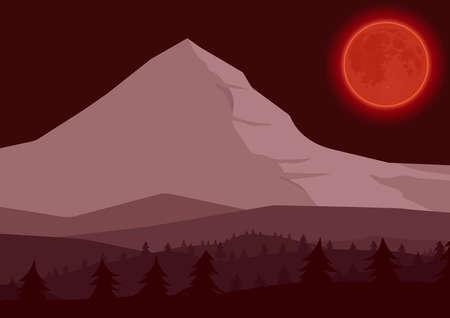 Mountain night landscape. Vector illustration.