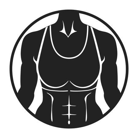 Bodybuilder female silhouette. Fitness club logo. Vector illustration.