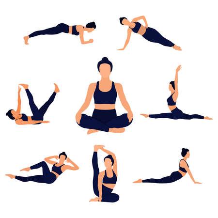 Faceless image of a girl doing yoga or fitness. Floor exercises. Vector illustration.