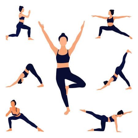 Faceless image of a girl doing yoga or fitness. Standing exercises. Vector illustration.